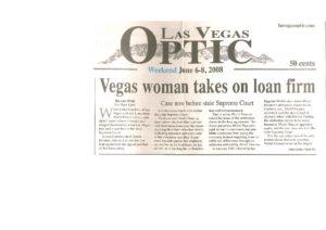 Vegas woman takes on loan firm (Las Vegas Optic, June 6-8, 2008 ... 7b70da9bc69b
