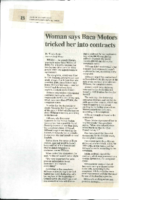 Woman Says Baca Motors Tricked Her into Contracts (Albuquerque Journal, October 8, 2001)