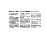 Woman Wins 125,000 from Dealership (Albuquerque Journal, June 30, 1999)