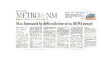 Man Harassed by Debt Collector Wins 10m Award (Albuquerque Journal, April 23, 2016)