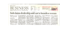 Suit Claims Dealership Sold Car to Homeless Woman (Albuquerque Journal, April 27,2016